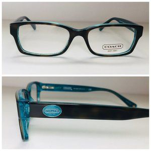 Coach Rectangle Tortoise Teal Eyeglass Frames NWOT
